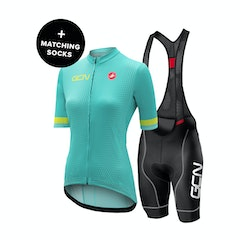 GCN Castelli Women's Competizione 2 Turquoise and Lime Bundle