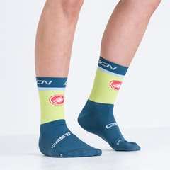 GCN Castelli Blue and Lime Rosso Corsa Socks