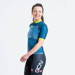 GCN Castelli Women's Competizione 2 Blue and Lime Jersey