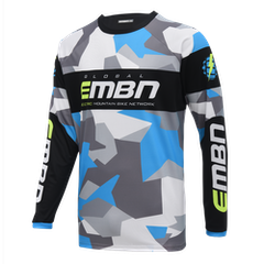 EMBN Camo Team Jersey Long Sleeve - Grey & Blue