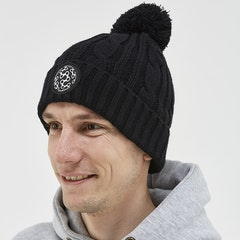 Cable Knit Bobble Beanie - Black