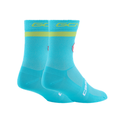 GCN Castelli Turquoise and Lime Rosso Corsa Socks