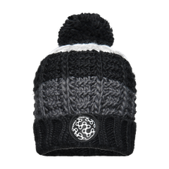 GCN Striped Knit Bobble Beanie - Black