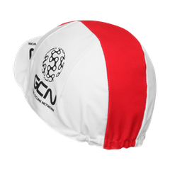 GCN Fan Kit - Gorra de ciclismo con visera, color blanco y rojo